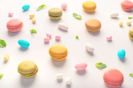 macarons cookies and candies on light background, dessert concept Stock Photo