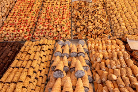 Collection of maltese cookie at market, bakery storefront