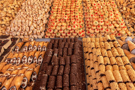 Collection dessert of maltese cookie at market, bakery storefront