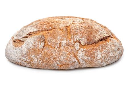 Whole rye Greek round bread isolated on white background