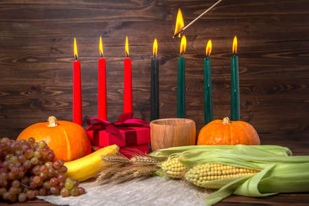 Ignition of Kwanzaa traditional candles