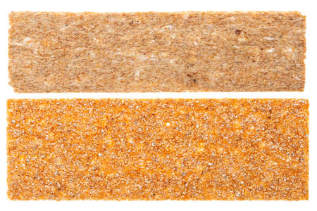 crispbreads, crunchy multigrain cereal seeds isolated on white background, protein bread bar 免版税图像