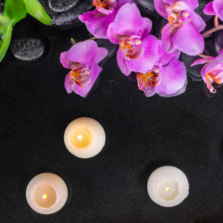 top view of spa setting with purple orchid (phalaenopsis), candles, green leaves and black zen stones with drops on water 免版税图像