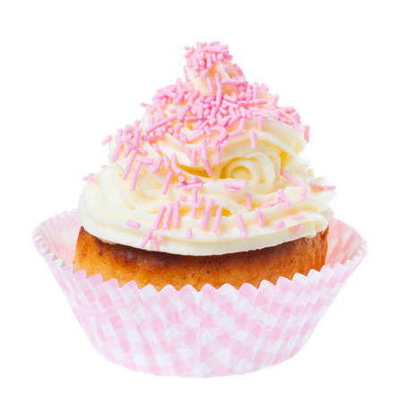 cupcake with whipped cream decorated pink sprinkles isolated on white background 版權商用圖片