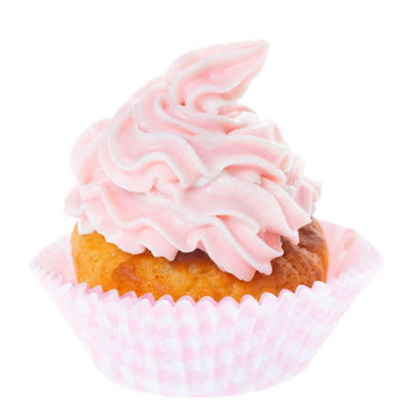 cupcake with pastel pink whipped cream isolated on white background