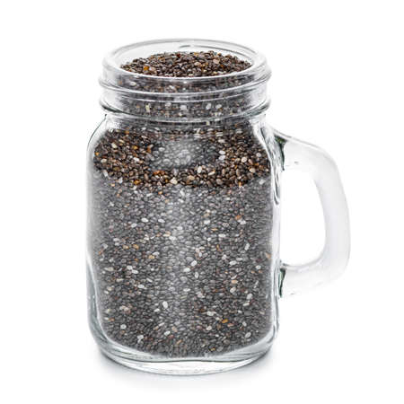 Chia seeds in jar isolated on white