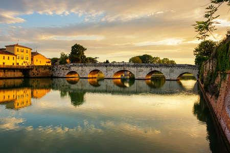 beautiful landscape of architecture roman empire bridge of Tiberius, Ponte di Tiberio or Bridge of Augustus, Rimini, Italy