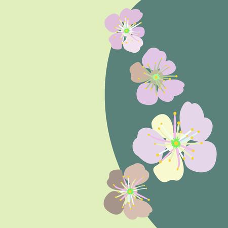 japanese garden: Japanese cherry . Trees in bloom. Spring flowering garden. Illustration