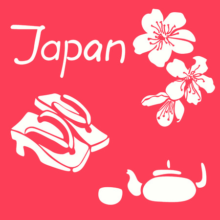 Geta image cherry. White icons on a pink background . Illustration