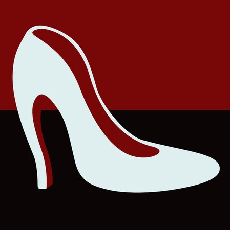 Female white shoes with heels . From a series of womens shoes.
