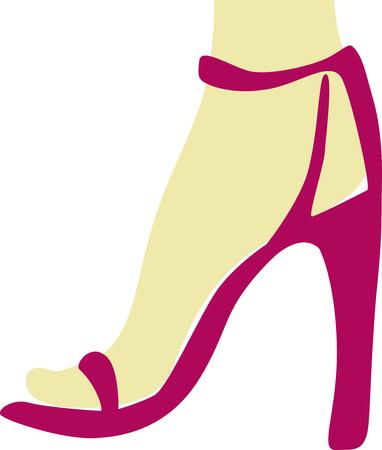 piernas de mujer: Piernas femeninas con sandalias de color rosa tonos. De una serie de zapatos de las mujeres. Vectores