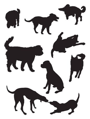 dog silhouettes active