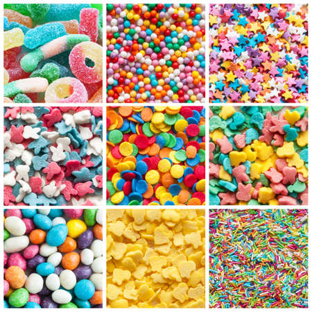 candy background: colorful collage of various candies and sweets