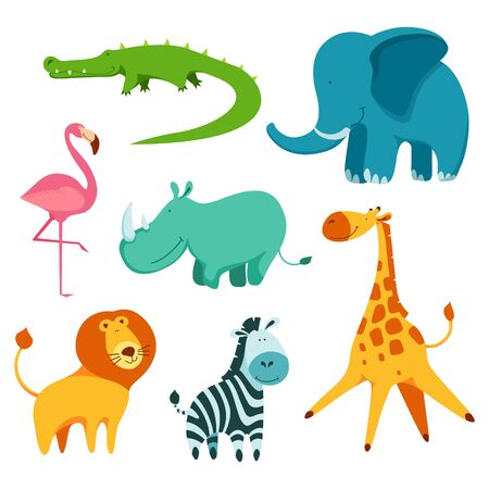 Cartoon cute and funny african animals set. Crocodile, elephant, rhinoceros, lion, zebra, flamingo and giraffe.