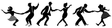 Set of three negative dancing couples silhouettes on white background. People in 1940s or 1950s style. Men and women on swing, jazz, lindy hop or boogie woogie party.