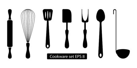 Cookware set black and white, 7 object isolated. Kitchen supplies.