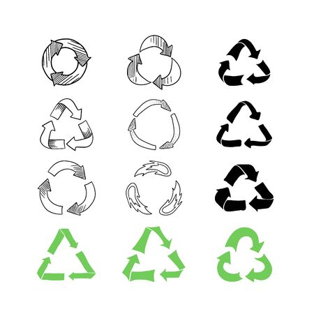 Set of hand drawn recycle signs isolated on white background. Doodle outline waste sorting symbols.