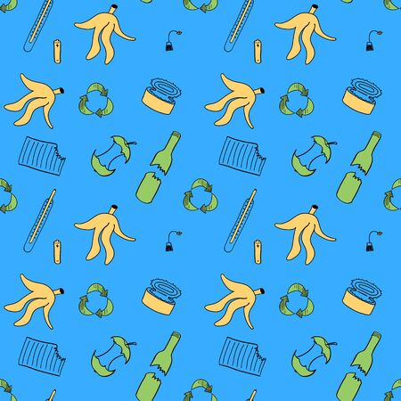 Recycling seamless pattern. Repeated ornament with different sorts of waste and recycle sign. Doodle objects on blue background.