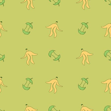 Seamless pattern with  hand drawn apple stump and banana peel. Repeated ornament for zero waste poster. Recycling organical waste doodle vector illustration. Ilustracja