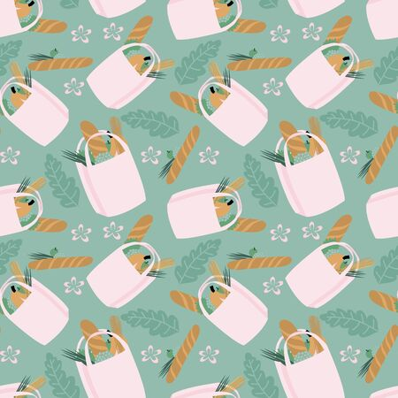 Zero waste seamless pattern in trendy scandinavian colors. Repeated ornament with paper bags with bundle of food and other elements. Stock Illustratie