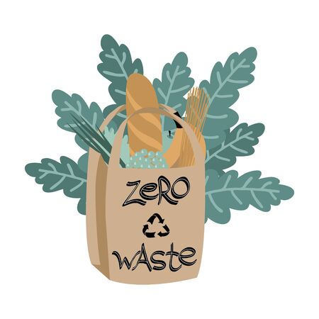 Bundle of products in paper bag with leaves isolated on white background. No plastic lifestyle. Zero waste composition in trendy colors.