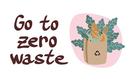 Zero waste poster with lettering. Bundle of products in paper bag with leaves. No plastic lifestyle. Zero waste composition in trendy colors.