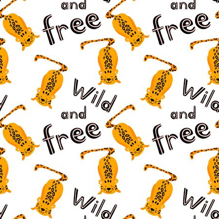 Seamless pattern with cute playing leopards and lettering. Cartoon animals isolated on white background.