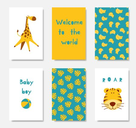 Baby shower invitation cards. Set of bright posters for a newborn boy party with cute cartoon animals and seamless patterns. Flat vector illustrations.