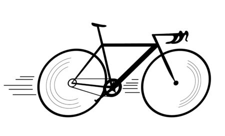 Simple silhouette fast riding bicycle drawing