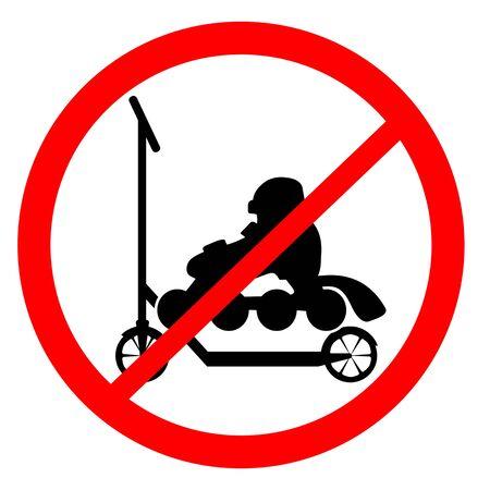 Scooters and roller skates forbidden sign Illusztráció