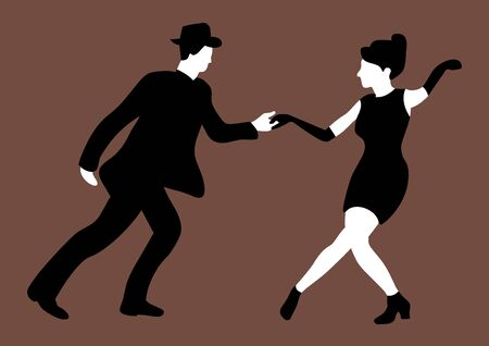 The silhouette of a couple dancing swing made in black and white colors on a coffee background.