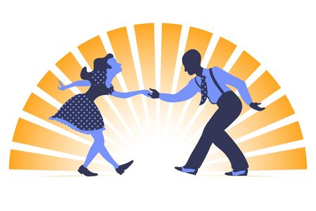 Swing dance couple silhouette in two colors on orange background with sunset rays Illustration