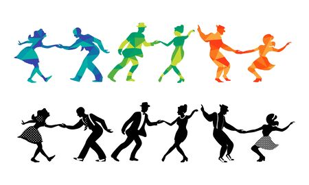 Set of three couples dancing swing, jazz, lindy hop or boogie woogie. Silhouettes on white background.