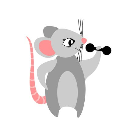 Cute cartoon mouse bodybuilder isolated on white background. Nice rat building muscles with dumbbells.