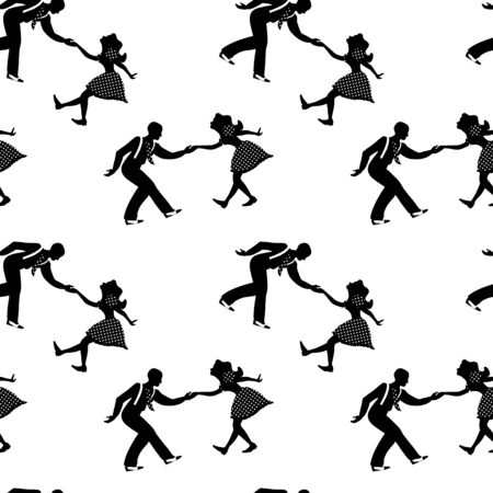 Seamless pattern with couples dancing jazz. Black and white colors. 1940s and 1930s style. Woman in dress with dots and man with suspenders and tie. Stock Illustratie