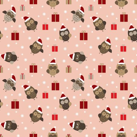 Cristmas seamless pattern with owls. Simple drawn woodland birds in red hats with snowflakes and presents on pink background. Vector illustration.
