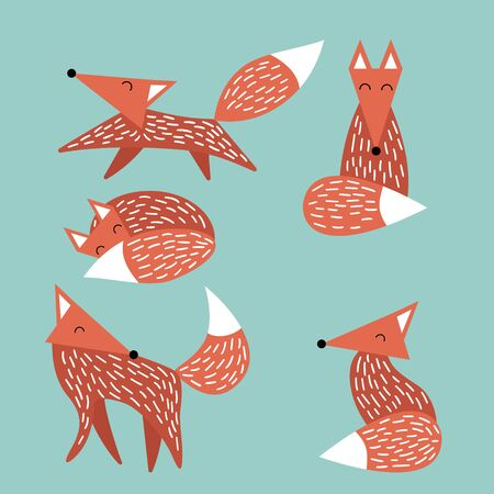 Set of simple drawn cute foxes isolated on green background. Funny woodland animals in trendy scandinavian style. Vector illustartion.