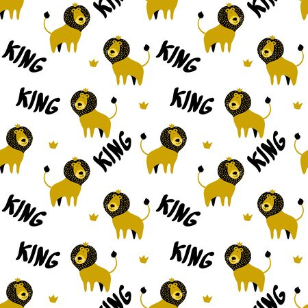 Seamless pattern with cute cartoon lions in crown and lettering isolated on white background. Flat vector illustration. 向量圖像
