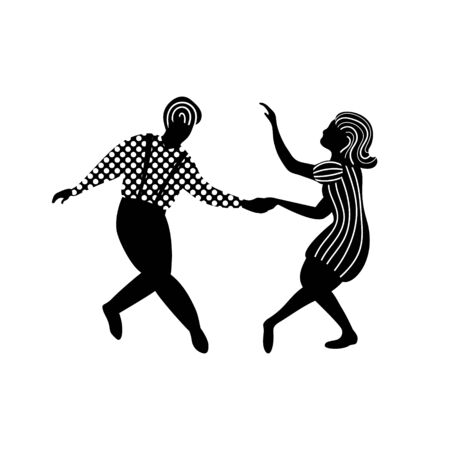 Swing dance couple of people in black and white colors. Man and woman dancing jazz, balboa or lindy hop. Vecctor illustration.