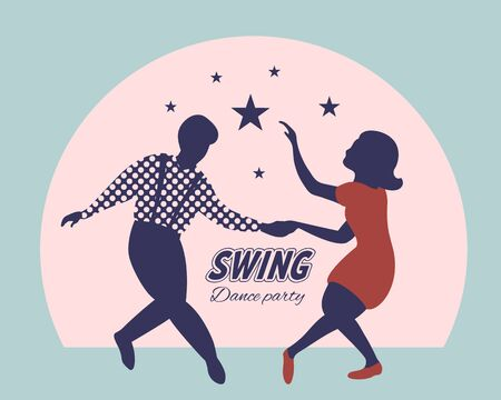 Swing dance party poster. Silhouettes of man and woman dancing lindy hop or boogie woogie. 1940s and 1950s style. Flat vector illustration. Standard-Bild - 132966557