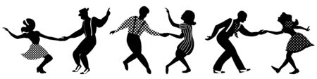 Set of three negative dancing couples silhouettes on white background. People in 1940s or 1950s style. Vector illustration. Standard-Bild - 132966586