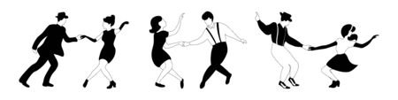 Three swing dance couples silhouettes black and white outline on white background. Vector illustration. Illustration