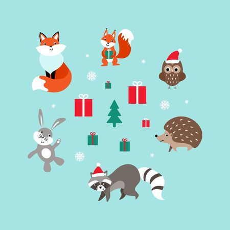Christmas set of cute cartoon woodland animals. Nice characters with presents and snow. Flat vector illustration. Illustration