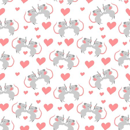 Seamless pattern with cute cartoon mice falling in love. Nice rodents with heart shapes isolated on white background. Valentines day repeated ornament. Flat vector illustration.