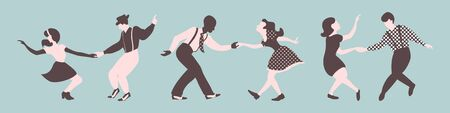 Three lindy hop dancing couples silhouettes on a blue background. Men and women in 1940s style. Vector illustration.