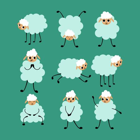 Big set of cartoon sheep in different poses and situations. Cute animals isolated on green background. Flat vector illustration. Illustration