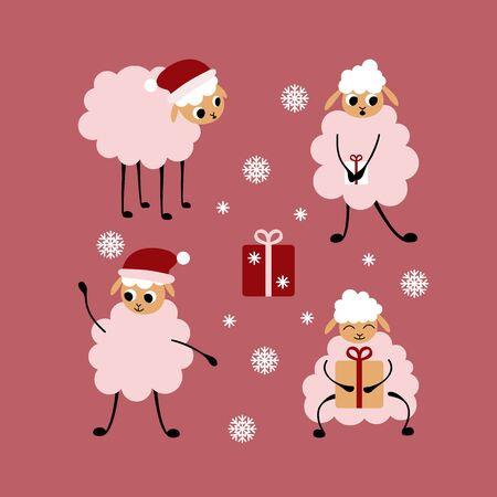 Christmas set of cartoon sheep isolated on pink background. Cute animals with presents and snowflakes. Flat vector illustration.