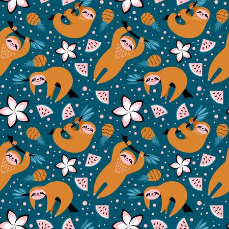 Seamless pattern with cute sloths, fruits and flowers on blue background. Trendy print with exotic animal. Vector illustration.