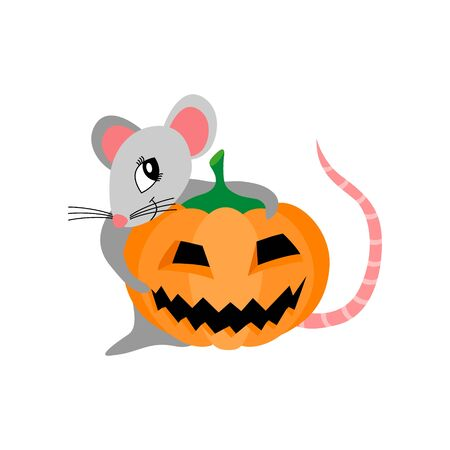 Cute cartoon rat with scary pumpkin isolated on white background. Funny rodent for Halloween greeting card. Flat vector illustration. Standard-Bild - 133063690