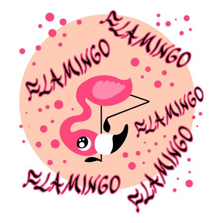 Cute pink flamingo baby looking from below with lettering and other decorative elements. Nice vector poster for all purposes.